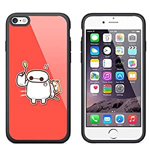 "New for Cute Baymax iPhone 6 4.7"" TPU White or Black Case Cover (#5 Black)"