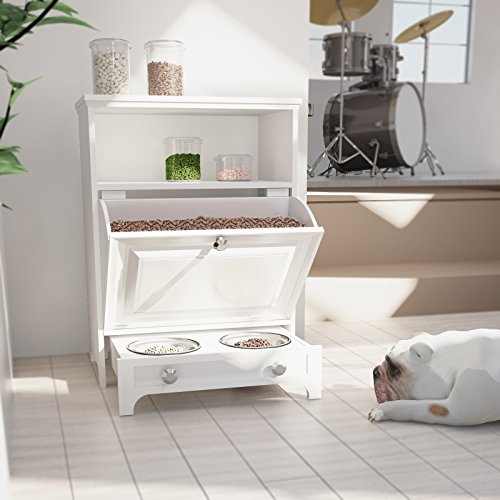 Roomfitters White Pet Feeder Station With Double Pull Out Dog Bowl,Pet Food  Cabinet,