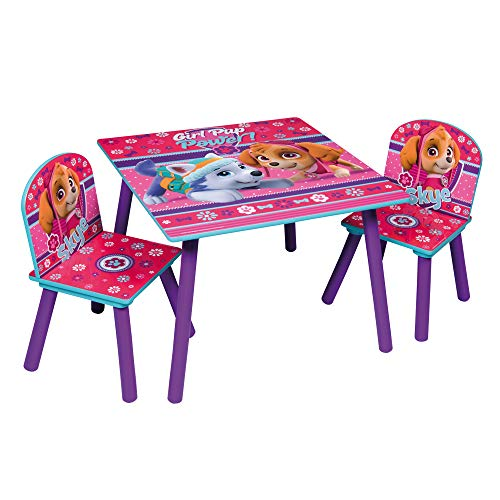 Themed Wooden Kids Table & Chairs Set (Pink Paw Patrol)