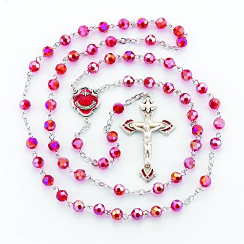 ((2 7/18) BERTOF BT-PR-103 Pewter Rosary Round Ruby Beads Beads WITH 100% Pewter Center and Crucifix Hand Made USA Copyrighted Paul Herbert Blessing PEWTARA Series)