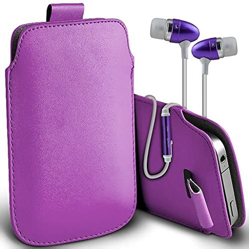 ONX3 (Dark Purple) Samsung Galaxy S8 Case Slip In Pull Tab Faux Leather Pouch Case Cover, Includes Stereo Aluminium Earphones Sales