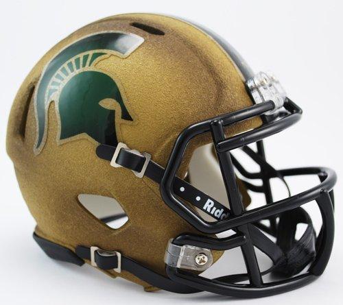 NCAA Michigan State Spartans Univeristy Gold Speed Mini Football Helmet