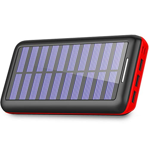 Power Bank Solar Portable Charger 24000mAh - PLOCHY Solar Phone charger with 3 Fast Charging USB Port and Dual Input External Battery Pack for Android Phones and All Smartphones and More.