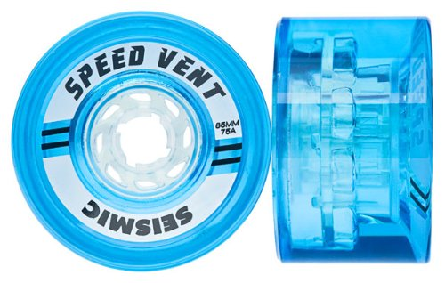 Seismic Longboard - Seismic Speedvent 85mm Longboard Skate Wheels ~Set of 4~ World Record Speed! (Clear Blue (Durometer 75a))