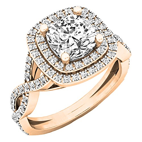 (Dazzlingrock Collection 1.00 Carat (ctw) 14K Round Diamond Swirl Bridal Halo Engagement Ring 1 CT, Rose Gold, Size 7)