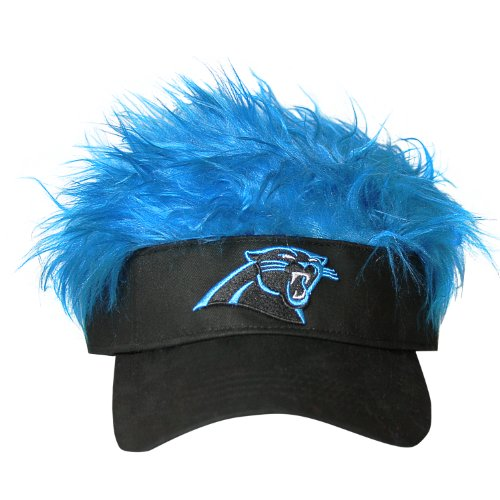NFL Carolina Panthers Flair Hair Adjustable Visor, Black (Hats With Hair Attached)