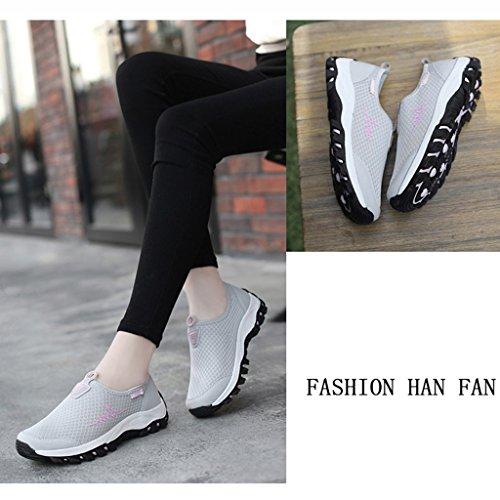 Printemps Chaussures Léger Taille D'ge Danse Maman Pour Confortable Femme Souple Hwf Fond Rouge Respirant Moyen Jujube couleur Gris 39 Femmes Sport rFq7YFwxU