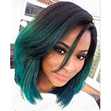 Cool2day Black to Green Ombre Sexy Bob Straight Synthetic Lace Front Wig