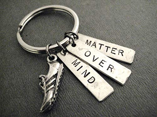(MIND OVER MATTER Running Shoe Key Chain - Pewter Running Shoe Charm and 3 Hand Hammered, Hand Stamped Nickel Silver Pendants on Round Stainless Steel Round Key Ring)