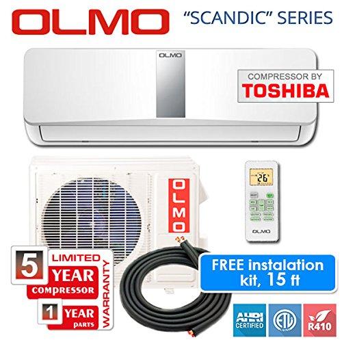 Ch Compressor (OLMO Toshiba Compressor 9,000 BTU Ductless Mini Split System 15 Seer Free Installation Kit, 115V/60 Hz)