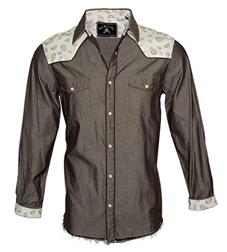 Rock Roll n Soul Men's Long Sleeve Western Skull Button Down Shirt Brown Tumble n Twirl 338BR (XXL) -