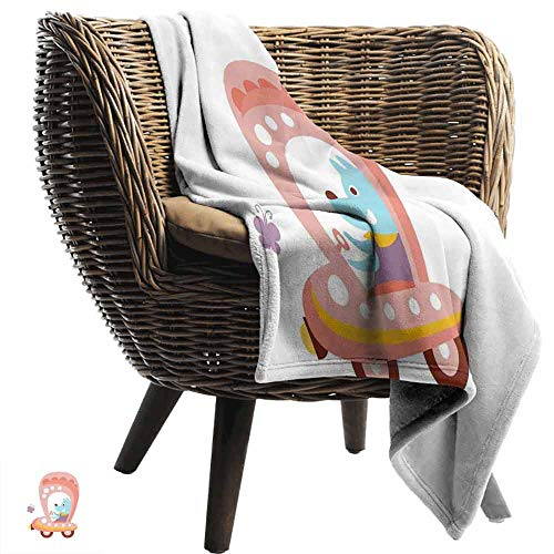 Dog Driver Printing Throw Blanket,Cartoon Car Puppy Spring Flowers Pastel Butterfly Fantasy World of Children Plush Hypoallergenic Blanket for Living Room (60