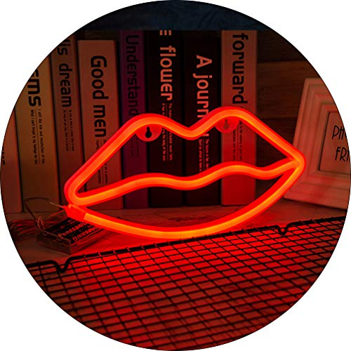 Hopolon Lip Neon Signs, LED Neon Light for Party Supplies, Girls Room Decoration Accessory, Table Decoration, Children Kids Gifts (Red Lip)
