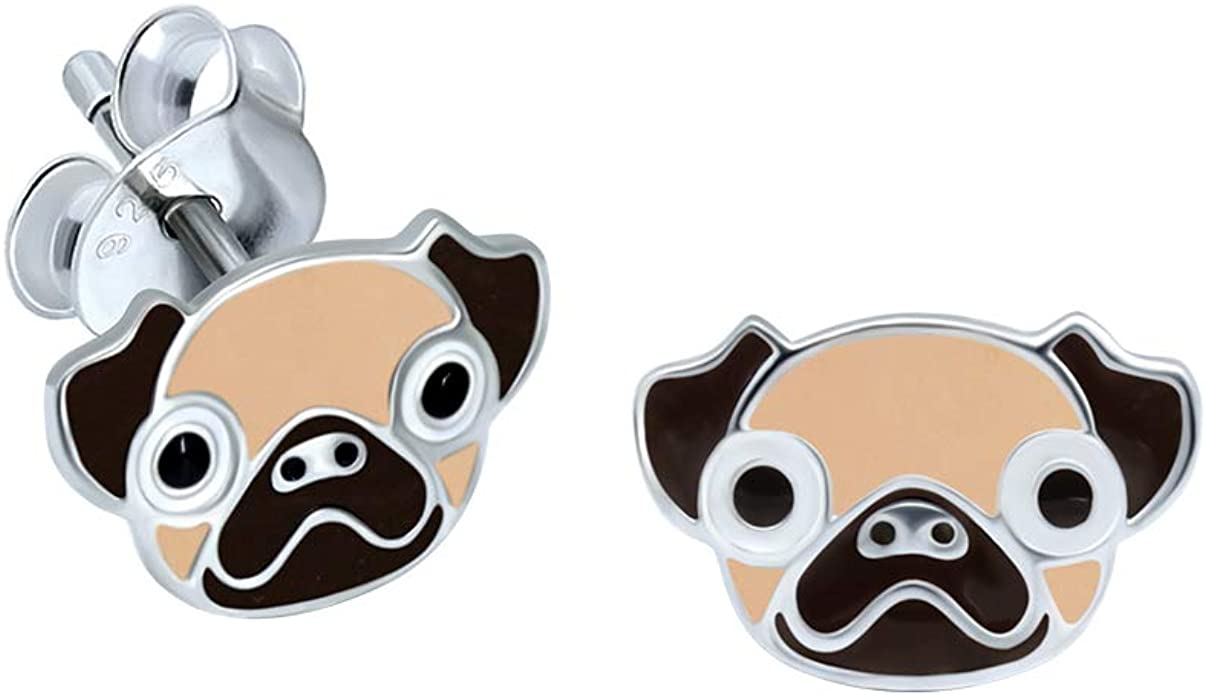 Extra Small Sterling Silver Pug Dog Earrings