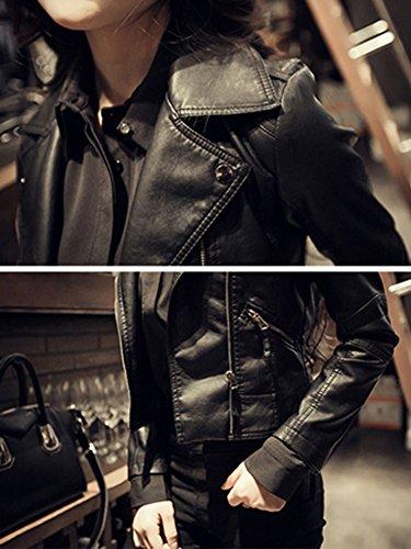 Manica In Lunga Pu Giacche Moto Corto Zip Donna Inverno Giacca Giubbotto Pelle Nero Con FtqAz6w