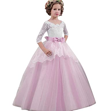 Amazon.com: KONFA Teen Girls Bowknot Lace Floral Party Dress,Suitable for 4-13 Years Old,Little Princess Formal Skirt Gown Clothing Set: Clothing