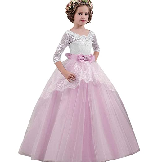 Little Big Girls Dresses Child Tulle Illusion Sleeves Lace Bow Tie Open  Back Princess Pageant Prom e61056b13fa3
