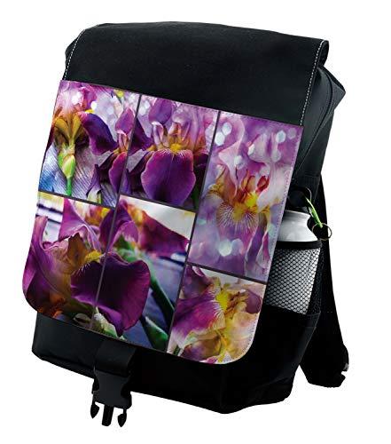 Ambesonne Purple Backpack, Blooming Iris Flowers, Durable All-Purpose Bag