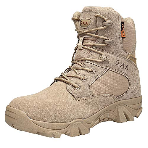 Corriee Men's Shoes Mens Athletic Outdoor Climbing Hiking Boots Suede Lace-up Combat Military Booties Khaki