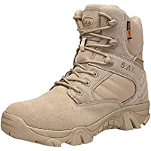 Fiaya Men's Wear-Resisting Non-Slip Combat Military Boots Outdoor Climbing Hiking Boots (Khaki, US:7)