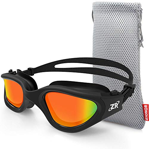 Zionor Swimming Goggles, G1 Polarized Swim Goggles UV Protection Watertight Anti-Fog Adjustable Strap Comfort fit for Unisex Adult Men and Women (Polarized Red Lens Black ()