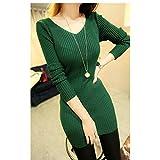 Spritech(TM) Fashion Sex Women Slim V Neck Backless Knit Long Sleeve Pullover Base Sweater Green