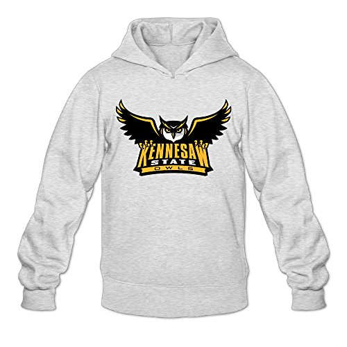 [AK79 Men's Hooded Sweatshirt Kennesaw State Owls Logo Size M Ash] (Hulk Hogan Costume Amazon)