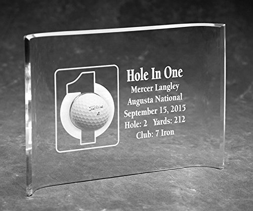 Eureka Golf Products Hole-in-One Laser Etched 7x10 Acrylic Crescent - Awards Golf Etched