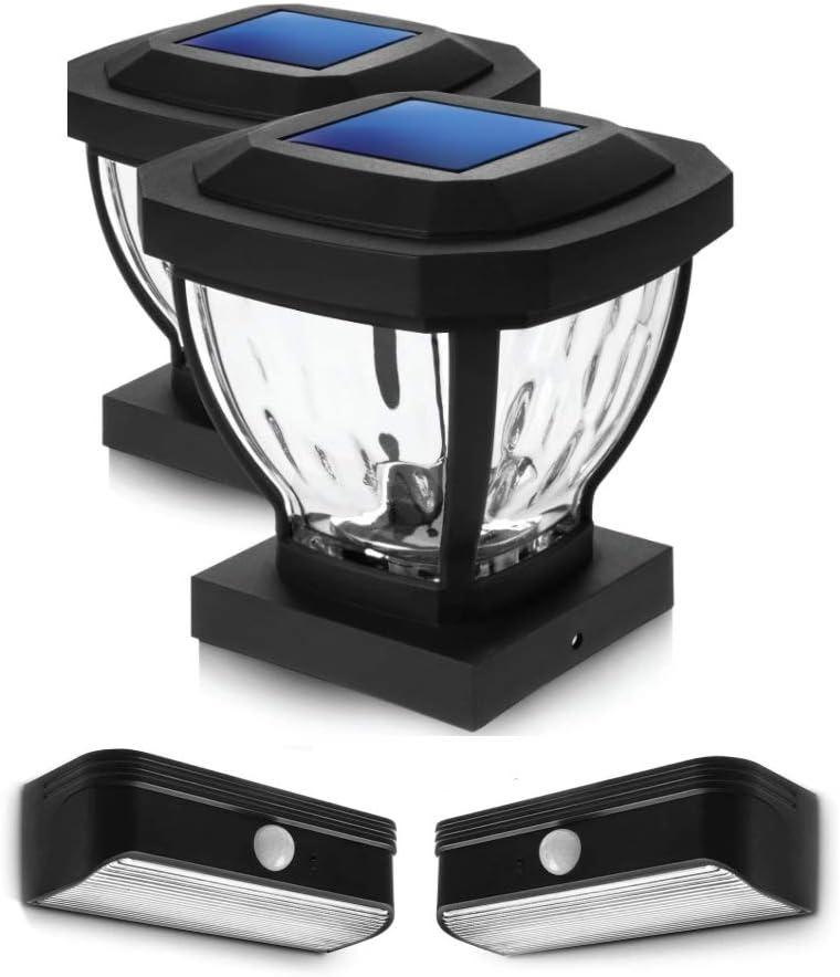 Home Zone Security Solar Post Cap and Motion Sensor Step Light Bundle Kit