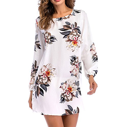 72c56c214f5 BingYELH Women s Long Sleeve Floral Print Swing Fit Crew Neck Casual Plus  Size Tunic T-