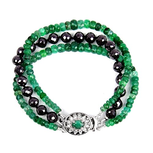 Three Row 3mm-4mm Black Diamond & Emerald Gemstone Bracelet Buy Online Sale by GemsRiver