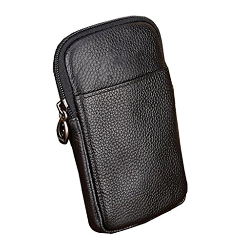 KUAISUF Genuine Leather Vintage Pack Waist Bag Travel Cell Mobile Phone Case Cover Belt Pouch Purse Black by KUAISUF
