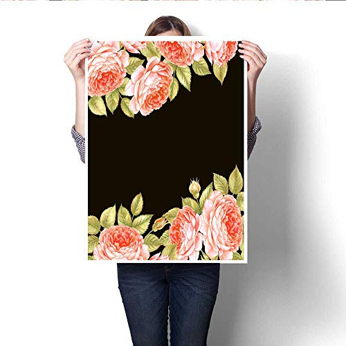 Anshesix Canvas Wall Art Bouquet of Rose Watercolor can be Used as Greeting Card Invitation Card for Wedding Birthday and Other Holiday and Summer Background Frameless Canvas Texture decoration20 -