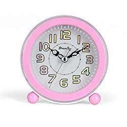 DreamSky Battery Analog Alarm Clock With Snooze And Loud Music Alarms ,Backlight ,Non-Ticking ,Battery Operated.Simple Bedside Alarm Clock For Kids ,Pink