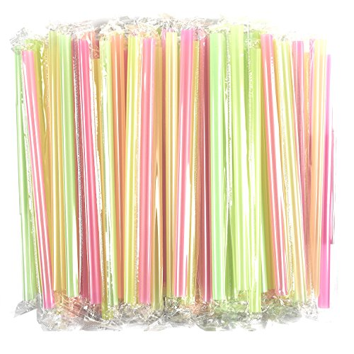 100-Pack Jumbo Drinking Straws - Large Plastic Extra Wide Fat Boba Straws - Perfect for Smoothies & Milkshakes, BPA Free Colorful Straws, Half-Inch Opening, Individually Wrapped, 12 x 0.5 Inches