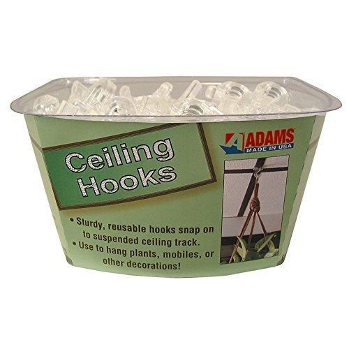 Adams ADM1900993848BN Clear Plastic Ceiling Hook, MultiPk...