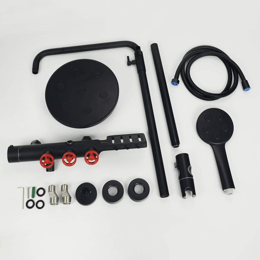 Conjunto de Ducha Termostatico Negro,Columna de Ducha con Grifo 895mm-1255mm Ducha de Lluvia,PHASAT SB06
