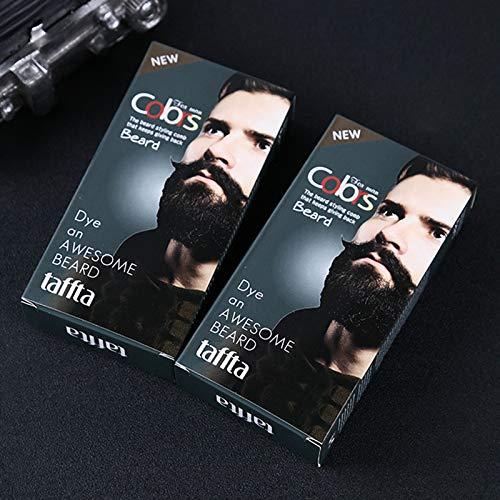Leoie Men Mustache & Beard Dye Cream Fast Color Natural Long Lasting Black Beard Tint Cream with 1 Pair of Disposable Gloves Black A 30ml