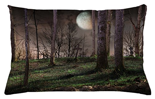 Lunarable Gothic Throw Pillow Cushion Cover, Dark Night in The Forest with Full Moon Horror Theme Grunge Style Halloween, Decorative Accent Pillow Case, 26 W X 16 L inches, Brown Green Yellow for $<!--$24.99-->
