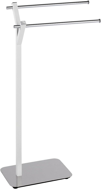 Wenko Design Handtuchständer mit 2 Stangen Albero Handtuchhalter für Bad oder Küche freistehend Handtuchstange 2 armig 45 x 83 5 x 20 cm edelstahl