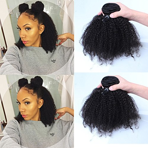 Beauty : Afro Kinky Curly Human Hair Clip in Extensions Virgin Mongolian Human Hair Clip in Hair Extensions for Black Women 7pcs/set 120gram/set (12inch)