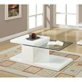 51rsjDrBT6L. SL160  Poundex Modern White Half Glass Coffee Table
