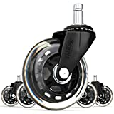 Replacement Office Chair Wheels by SunnieDog Office 3-Inch Rollerblade Style Rubber Casters 11mm Black (Set of 5)