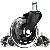 SunnieDog Replacement Office Chair Wheels 3-Inch Rollerblade Style Rubber Casters 11mm Black (Set of 5)