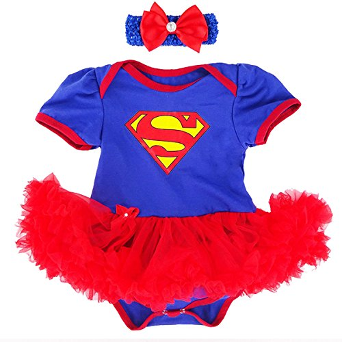 Laudmu Baby Girl Supergirl Romper Dress,Headband Clothe set (XL(12-18month)) (Cute Infant Halloween Costumes)