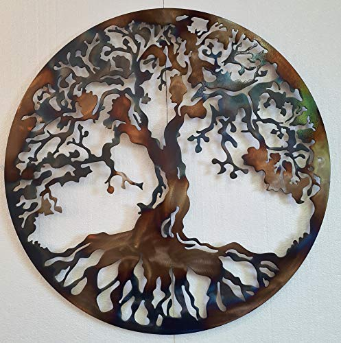 Tree of Life Metal Art, Large Wall Decor, 36 inches, Heat Colored (Hanging Wall Tree Metal)