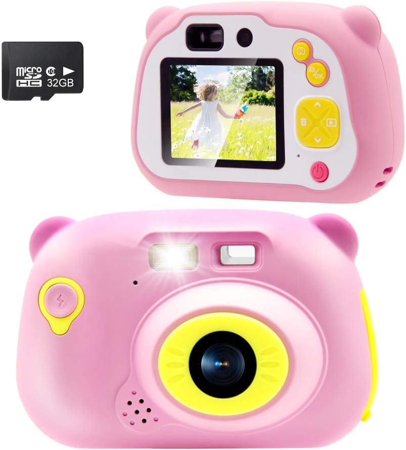 Sonkir 32GB Recargable Cámara Digital, cámara Frontal portátil de 15.0 MP y cámara/videocámara, Regalo para niños y niñas (Rosa)