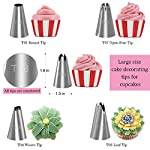 Kootek 58 Pieces Cake Decorating Supplies Kits with 29 Numbered Icing Tips, 22 Pastry Bags, 1 Icing Spatula, 3 Reusable Couplers, 2 Flower Nails Frosting Kids Baking Tool DIY Cupcakes Cookies 9 Cake Decorating Supplies Set: 24 cake decorating icing tips, 5 cupcakes piping tips, 1 angled icing spatula, 20 disposable pastry bags, 2 silicone pastry bags, 3 piping tip couplers, 2 flower nails, 1 cleaning brush. Large Size Tips: Includes 5 cupcake tips which helps you create perfer pattern on cupcake. Cake Decorating Patterns: Closed Star, Open Star, French, Round, Plain, Leaf, Petal.