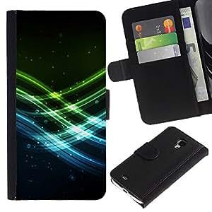 KingStore / Leather Etui en cuir / Samsung Galaxy S4 Mini i9190 / Olas de neón