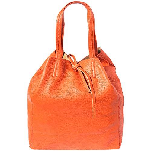 A Cuoio Leather In Arancio Borsa Market Chiusura Con Pelle Borse Shopping 9121 Babila Florence Laccetto wz6qYdXz